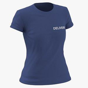 Female Crew Neck Worn Dark Blue Delivery 03 3D model