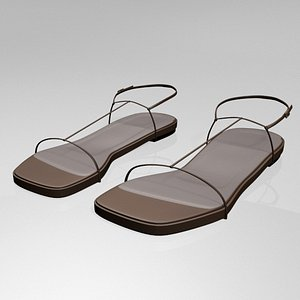 stylish square-toe t-strap flat 3D model