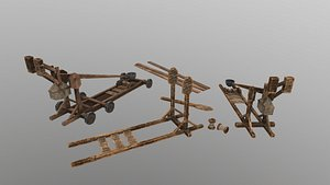 Low Poly Catapult model