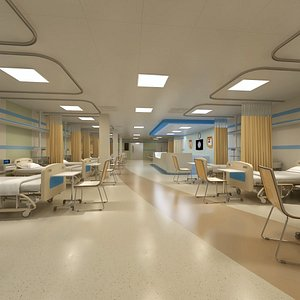 Hospital Wardroom with Monitoring Units and Nurses Station 3D model