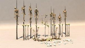 3D Skull Human Skeleton Buried Skeleton Horror Zombie