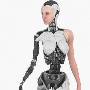 Cyborg Girl Bella, Rigged, PBR 3D model