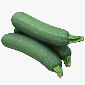 3D zucchini courgette vegetable