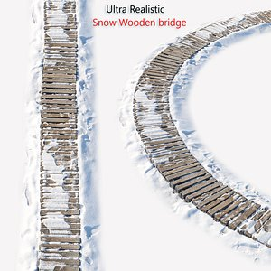 3D Ultra realistic Snow wooden trail model