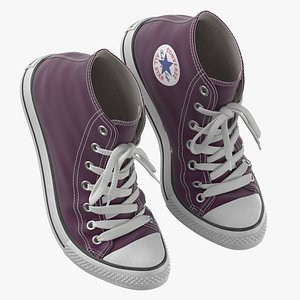 3D model Basketball Leather Shoes Bent Purple