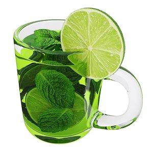 Green tea mug 3D