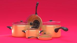 3D cooking pot frying pan