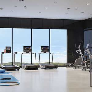 3D Exterior And Interior Gym Building model