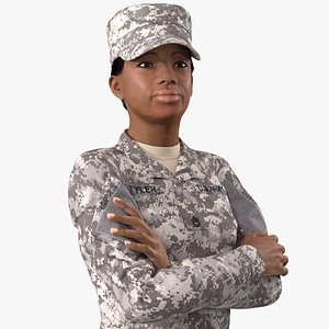 black female soldier military 3D model