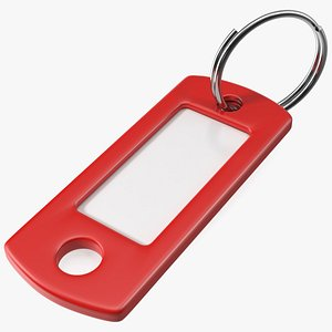 Colored Plastic Key Tag with Split Ring 3D model