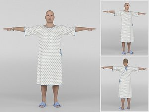 Patient with white gown 3D model