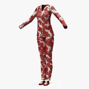 Asian Style Satin Pijama for Women 3D model