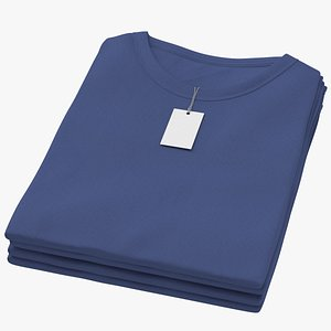 Female Crew Neck Folded Stacked With Tag Dark Blue 3D model