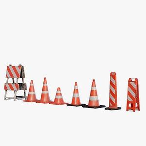 3D Traffic Cones 3D model Pack model
