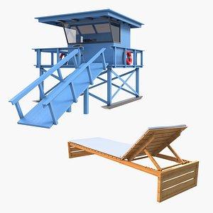 Lifeguard Station and Sun Lounger 3D model