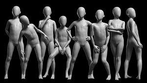 3D Animated Kid 7-20 Years Base Mesh V3 - 8 poses