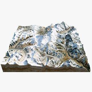 3D model Everest Mountain Range