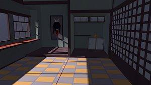Empty cartoon horror room Low-poly 3D model