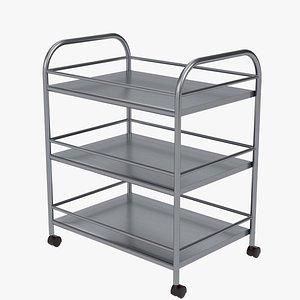 Stainless steel utility trolley 3D model