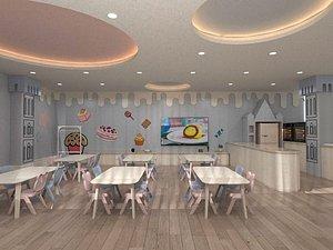 3D Kindergarten, Kindergarten, Classroom, Early Education Center, Kindergarten, Library, Multimedia Roo