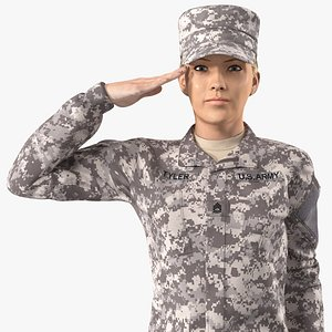female soldier military acu 3D model