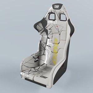 3D OMP WRC-R ART Racing Seat White model