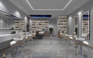 3D Beauty salon barber shop barber table and chair SPA massage leisure reception shampoo model