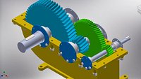 speed reducer 2 step gearbox 3D model