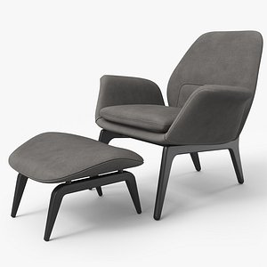 Lounge Chair Black Wood Velvet - PBR 3D