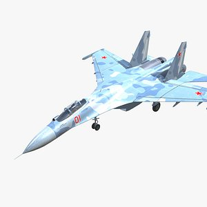 3D SU-27 Flanker Jet Fighter Aircraft Low-poly 3D model