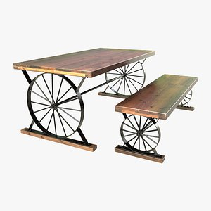 wagon wheel dining table model