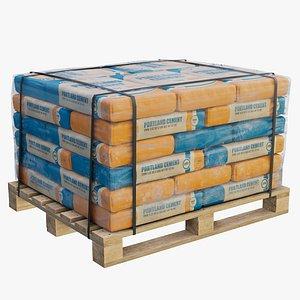 pallet cement bags new 3D model