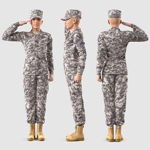 3D Female Soldier Military ACU Rigged for Cinema 4D model