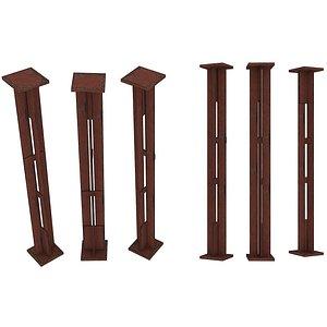 3D model Industrial Platforms  Stairs 01 Set Column 01 01