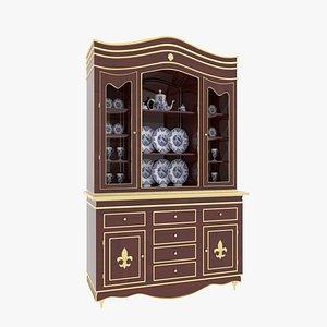 3D China Cabinet Mahogany