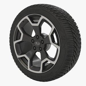 Car Tyre with subaru Rim - Bridgstone Blizzak 225-50-R17 3D