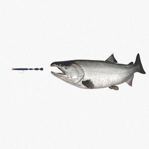 3D silver salmon fish lure model