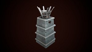 stylized torch column 3D model