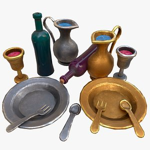 3D model Stylaized Dishes