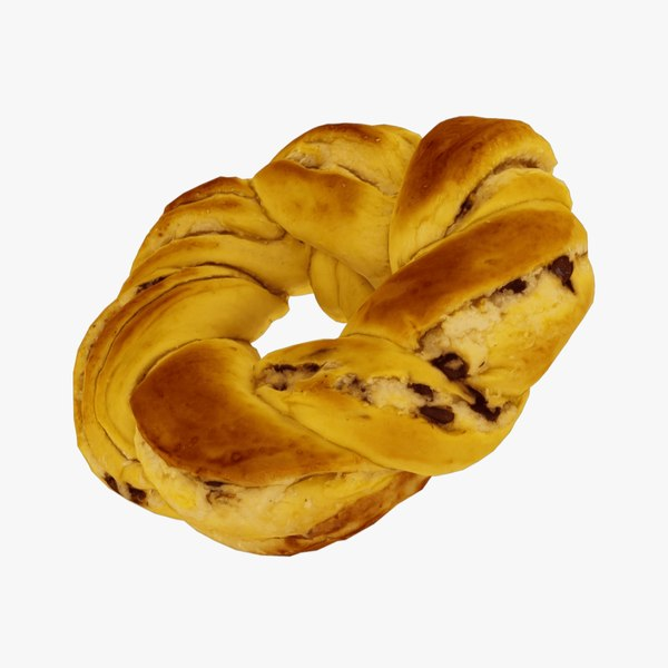 3D model Chocolate Chip Braided Bread - Real-Time 3D Scanned