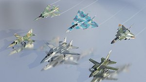 3D Cold War fighters lowpoly set B 3x2