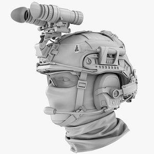 Tactical Military Helmet No Materials 3D model