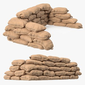 3D model Sandbag Barricade