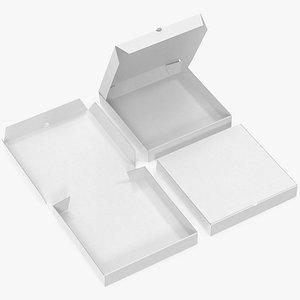 pizza boxes white paper 3D
