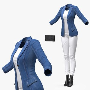 Womens Urban Style Clothes with Denim Jacket 3D model
