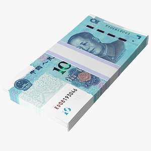 Pack of Chinese 10 Yuan 2019 Banknotes 3D model