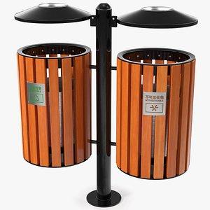 3D dual trash recycle bin