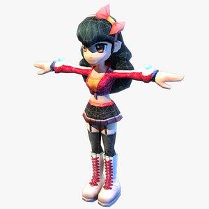 anime girl red 3D model