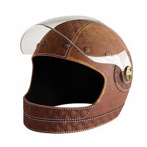 Leather moto helmet 3 3D model