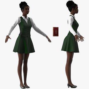 3D Black Teenage Schoolgirl Rigged for Maya model
